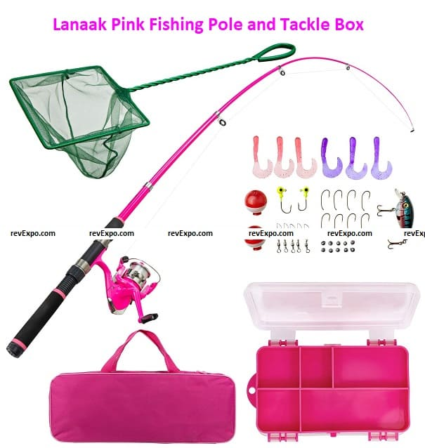 Lanaak Pink Fishing Pole and Tackle Box - Telescoping Rod with Spinning Reel