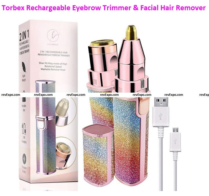 Torbex Rechargeable Eyebrow Trimmer & Facial Hair Remover