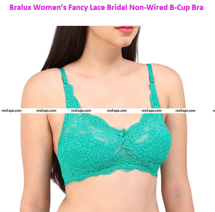 Bralux Women's Fancy Lace Bridal Non-Wired B-Cup Bra, Angeleena