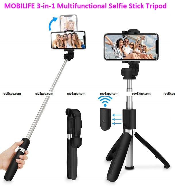 MOBILIFE 3-in-1 Multifunctional Extendable Bluetooth Selfie Stick Tripod
