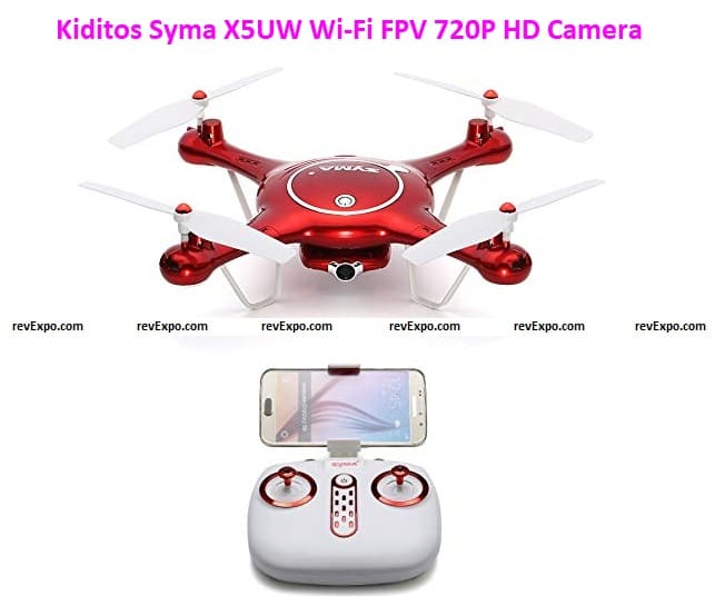 Kiditos Syma X5UW Wi-Fi FPV 720P HD Camera Quadcopter with Flight Plan Route and Altitude Hold Function App Control Drone, Red