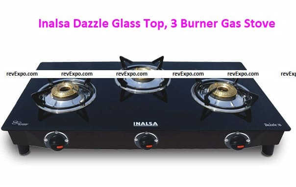 Inalsa Dazzle Glass Top, 3 Burner Gas Stove with Rust Proof Powder Coated Body, Black