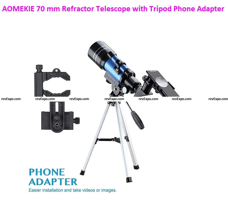 AOMEKIE 70 mm Refractor Telescope with Tripod Phone Adapter 5x24 finderscope 3X and 1.5X Barlow lens