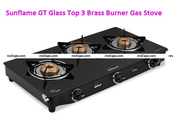 Sunflame GT Pride Glass Top 3 Brass Burner Gas Stove (Manual Ignition, Black)