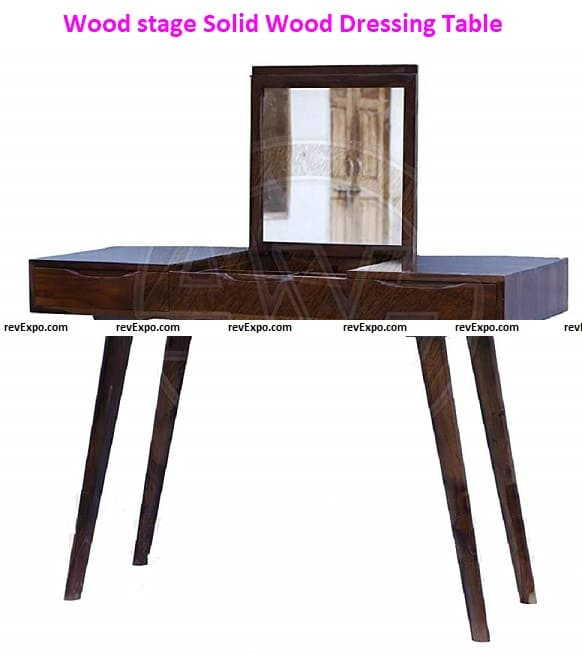 Wood stage Solid Wood Dressing Table with Folding Mirror
