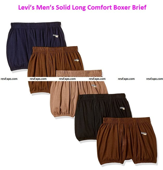 Levi's Men's 100% Cotton 100 CA Solid Long Comfort Boxer Brief with Inner Elastic & Fly Open