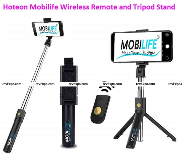Hoteon Mobilife Bluetooth Extendable Selfie Stick with Wireless Remote and Tripod Stand