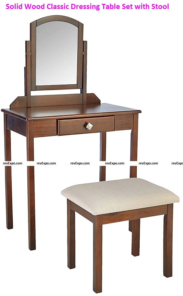 Solid Wood Classic Dressing Table Set with Stool - Espresso Finish