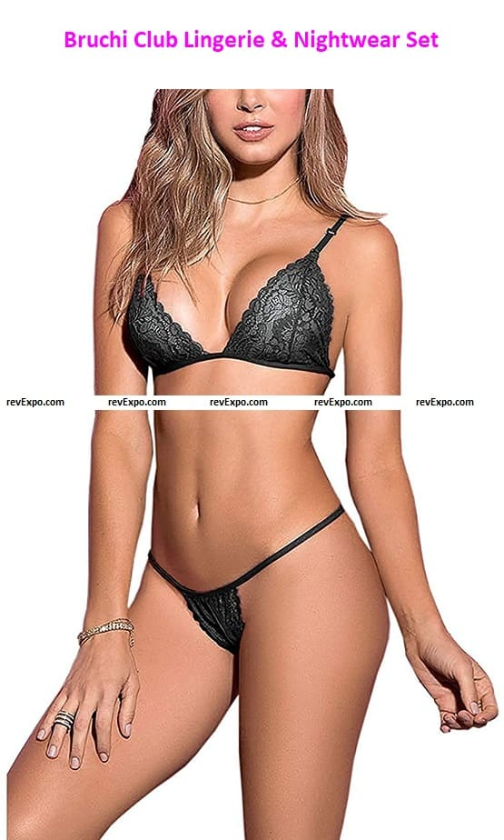 Bruchi Club Lingerie & Nightwear Set for Women Lace Bra and Panty Set with G String Panty