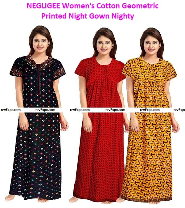 NEGLIGEE Women's Cotton Geometric Printed Night Gown