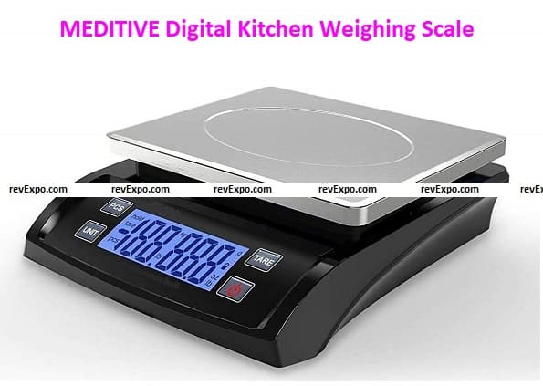 MEDITIVE Digital Kitchen Weighing Scale with White Backlight Display