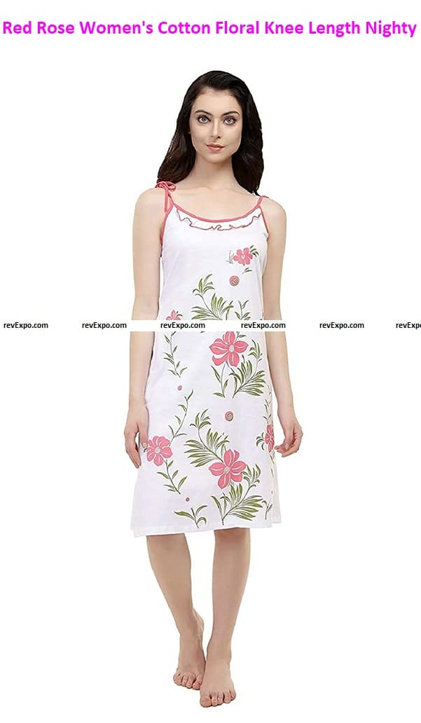 Red Rose Women's Cotton Floral Knee Length Night Dress
