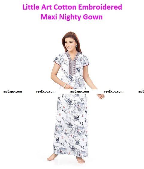 Little Art Cotton Embroidered Maxi Nighty Gown