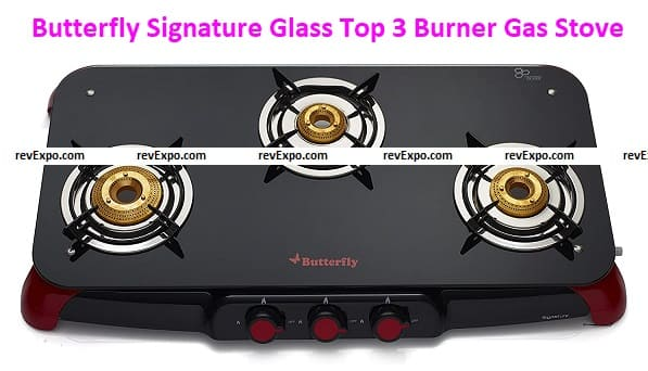Butterfly Signature Glass Top 3 Burner Gas Stove, Manual Ignition, Black/Red