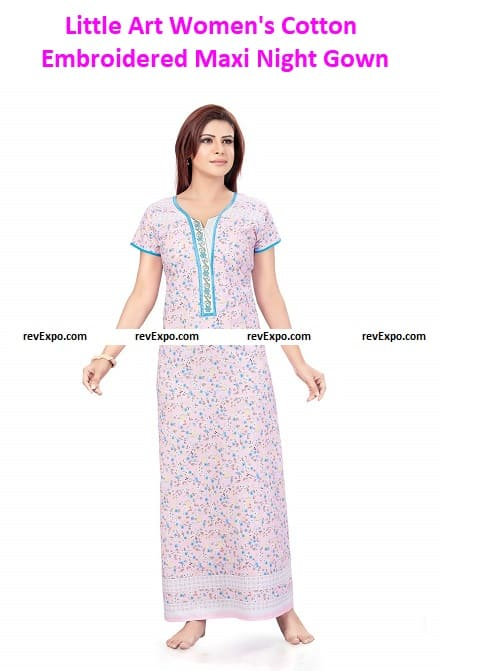 Little Art Women's Cotton Embroidered Maxi Night Gown