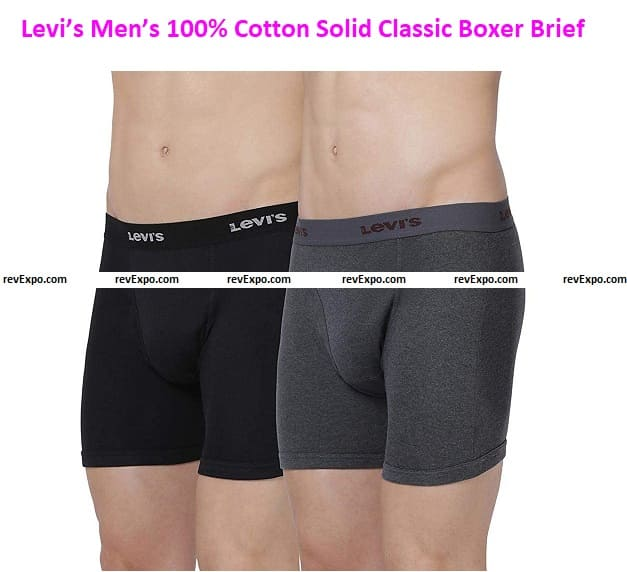 Levi's Men's 100% Cotton Solid Classic Boxer Brief with Open Fly (Pack of 2)