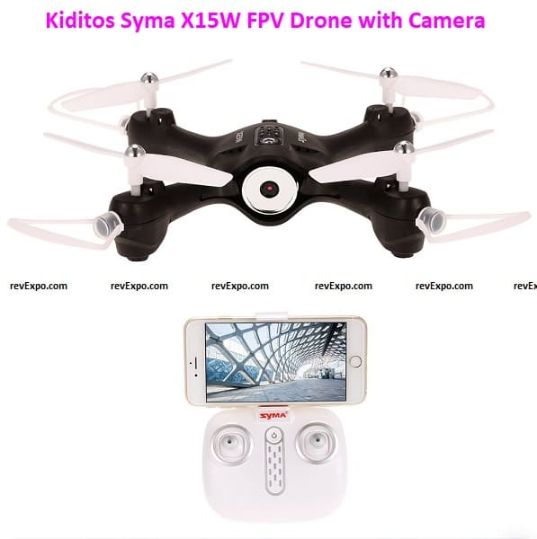 Kiditos Syma X15W Wi-Fi FPV Drone with Camera Real-Time Video 2. 4GHz 4CH 6-Axis Gyro App Control RC Quadcopter with Flight Plan