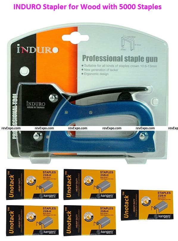 INDURO Stapler for Wood with 5000 Staples