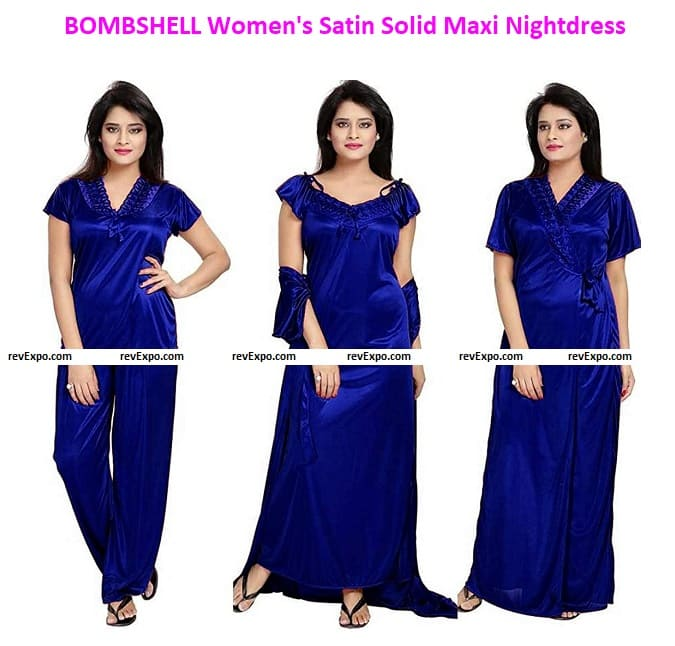 BOMBSHELL Women's Satin Solid Maxi Nightdress (Pack of 4)