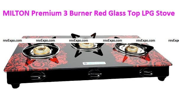 MILTON Premium 3 Burner Red Glass Top LPG Stove, Manual Ignition with Brass Burner - (ISI Certified)