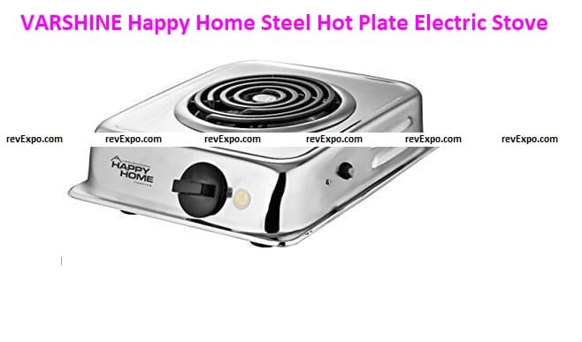 VARSHINE Happy Home Steel Hot Plate Electric Stove Model-G. Coil N-8, Medium, Silver