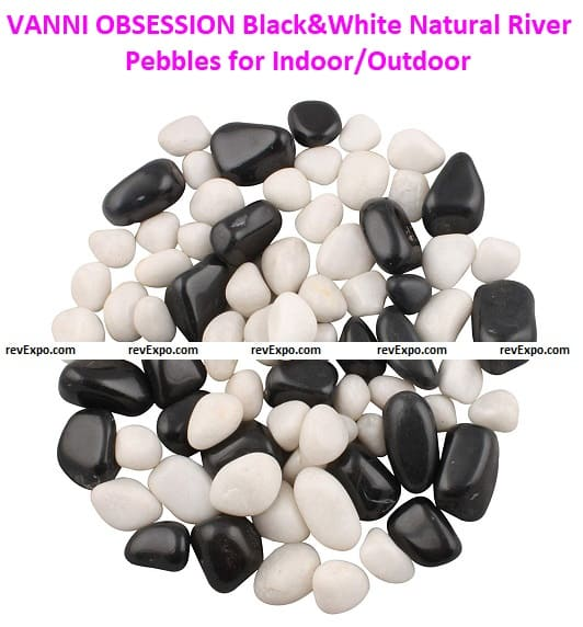VANNI OBSESSION Black&White Natural River Pebbles for Indoor Outdoor Garden