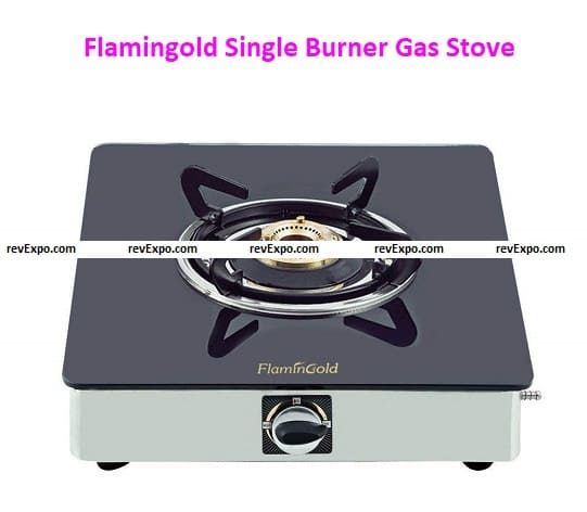 Flamingold Single Burner Gas Stoves, Manual | Black One Glass top for Kitchen| ISI Standard | Stainless Steel Body