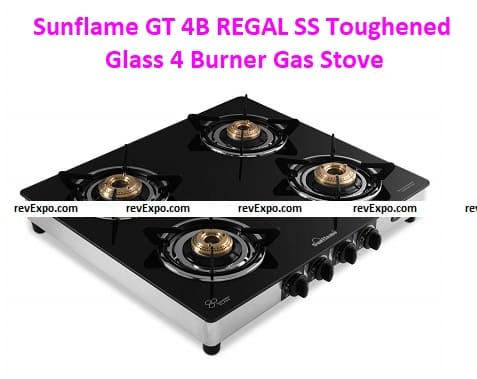 Sunflame GT 4B REGAL SS Toughened Glass 4 Burner Gas Stoves