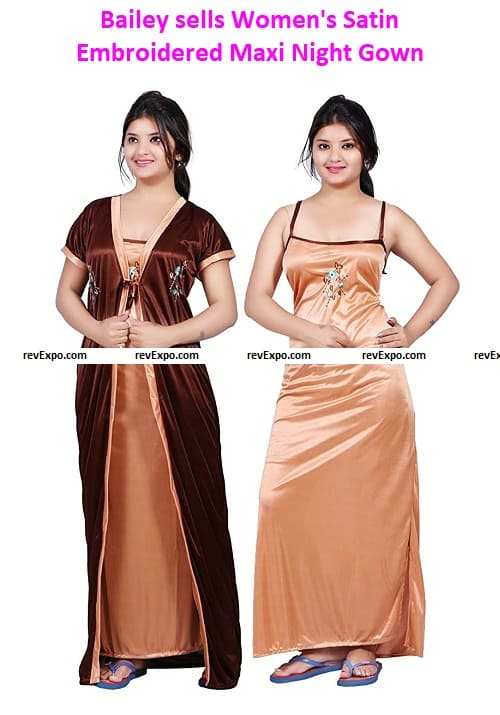 Bailey sells Women's Satin Embroidered Maxi Night Gown