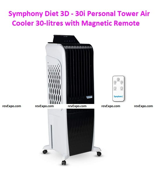 Symphony Diet 3D - 30i Personal Tower Air Cooler 30-litres with Magnetic Remote
