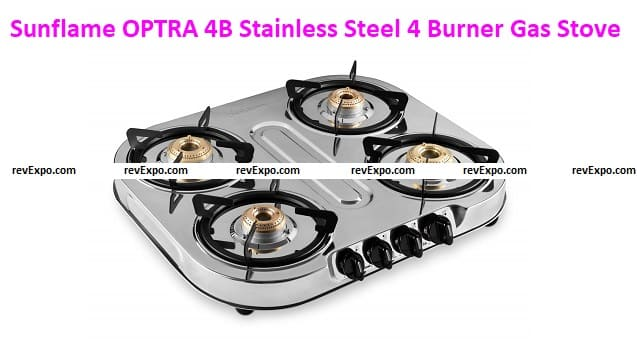 Sunflame OPTRA 4B Stainless Steel 4 Burner Gas Stoves