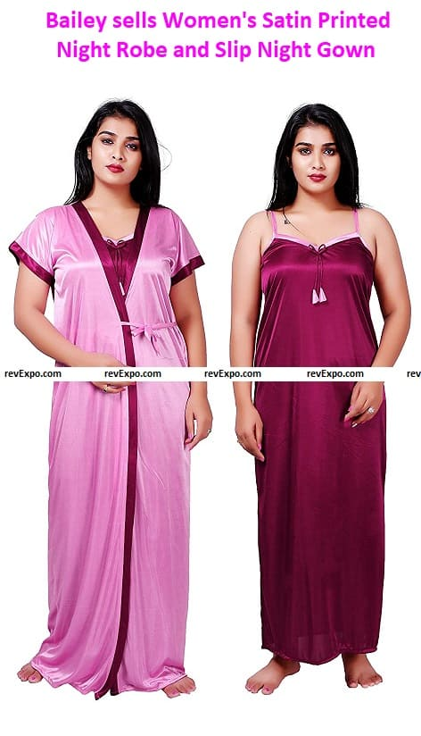 Bailey sells Women's Satin Printed Night Robe and Slip Night Gown