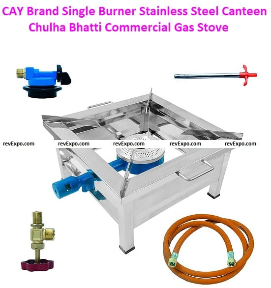 CAY Brand Single Burner Stainless Steel 15 Inch Square Canteen Chulha Bhatti Commercial Gas Stoves