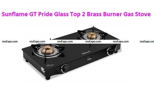 Sunflame GT Pride Glass Top 2 Brass Burner Gas Stoves