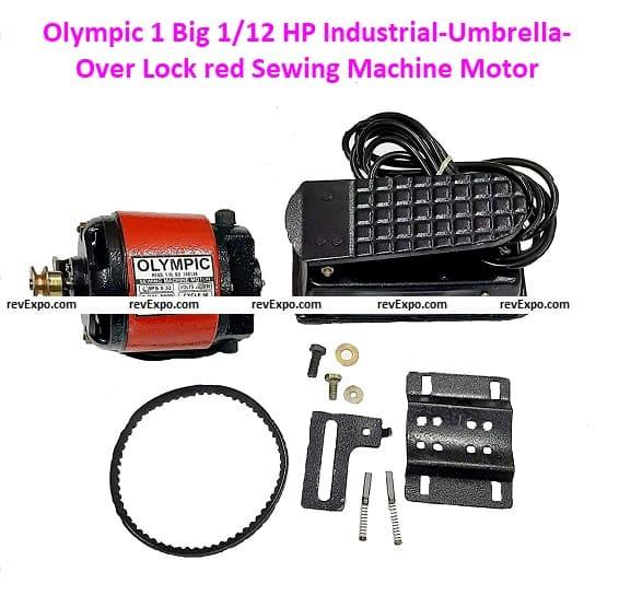 Olympic 1 Big 1/12 HP Industrial-Umbrella-Over Lock red Sewing Machine Motors