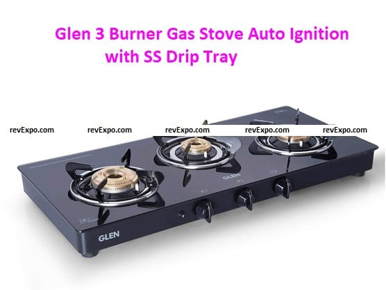 Glen 3 Burner Gas Stove Auto Ignition with SS Drip Tray