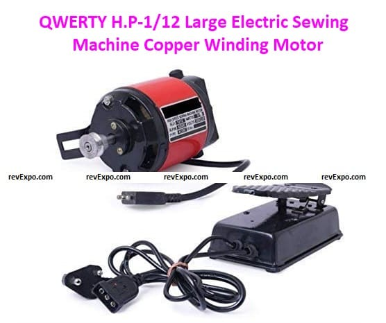 QWERTY H.P-1/12 Large Electric Sewing Machine Copper Winding Motors with Speed Controller and Belt