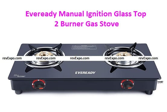 Eveready Manual Ignition Glass Top 2 Burner Gas Stove, Black