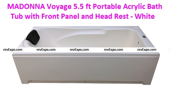 MADONNA Voyage 5.5 ft Portable Acrylic Bath Tub with Front Panel and Head Rest
