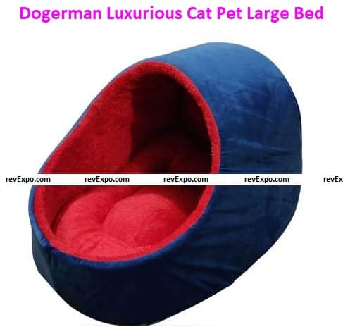 Dogerman Luxurious Holland/Fur Fabric Dual Blue Red Color Full-Size Cat