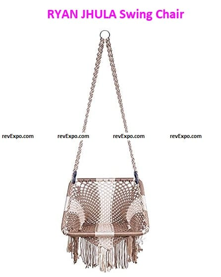You can mount it because it is a hanging chair. The design is decorative and uses polyester materials.