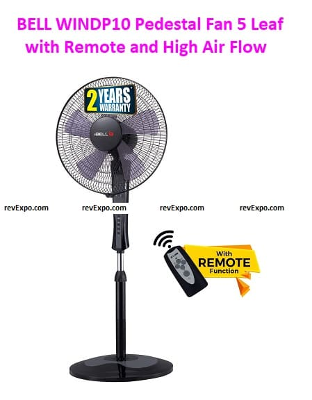 iBELL WINDP10 Pedestal Fan 5 Leaf with Remote and High Air Flow
