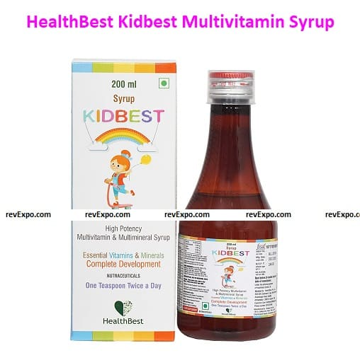 HealthBest Kidbest Multivitamin & Multimineral Syrup for Kids with Pencils