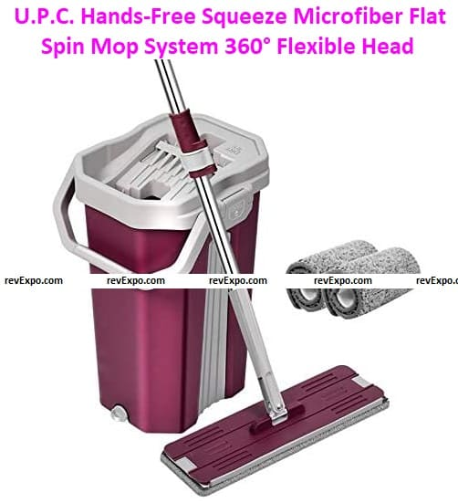 P.C. Hands-Free Squeeze Microfiber Flat Spin Mop System 360° Flexible Head