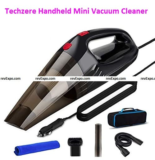 Techzere Powerful Car Handheld Vacuum Cleaner with Multiple Attachments & Storage Bag. Free Spare Filter & Microfiber Cloth Black