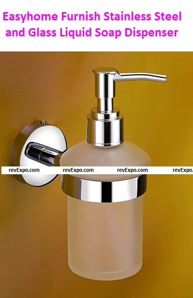 Easy home Furnish 304 Stainless Steel and Glass Liquid Soap Dispenser