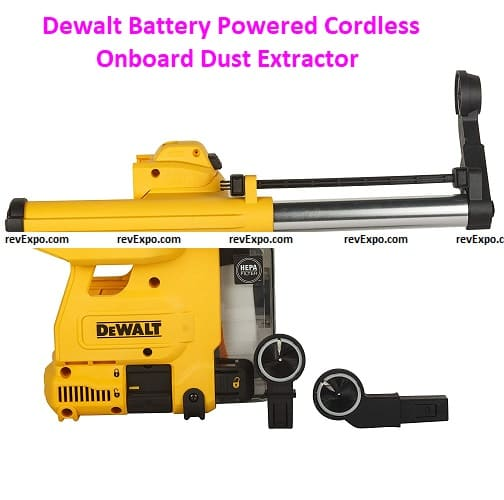 Dewalt D25304DH Battery Powered Cordless Onboard Dust Extractor for SDS-Plus Hammers with HEPA Filter-Perform and Protect Shield