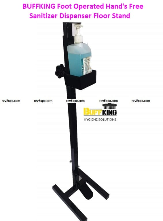 BUFFKING Foot Operated Hand's Free Sanitizer Dispenser Floor Stand