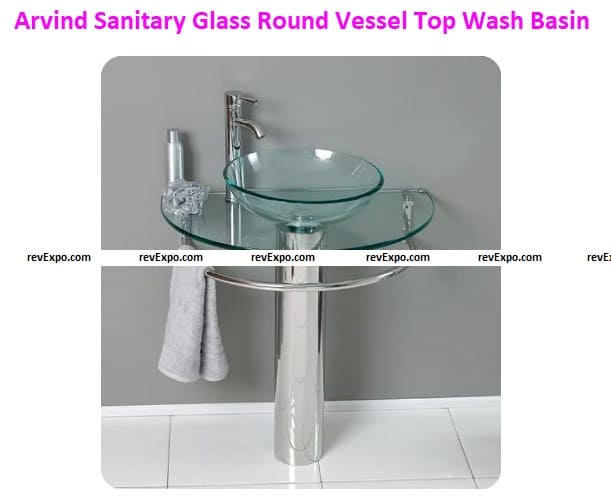 Arvind Sanitary (Clear Batla Set) Glass Round Vessel/Table Top Wash Basin with Bowl, Self, and Steel Stand