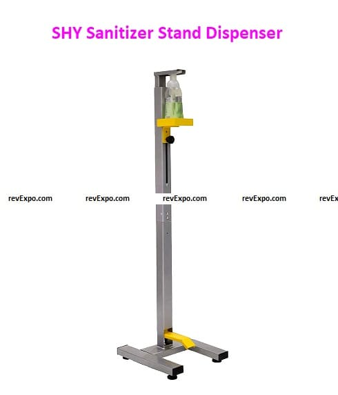 SHY Sanitizer Stand Dispenser (Hands-Free/Foot Operated) Steel Silver